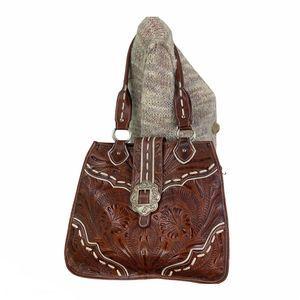 American West Hand Tooled Large Shoulder Bag